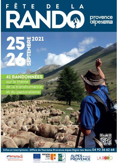 dépliant de la fête de la randonnée montrant un berger devant son troupeau de mouton