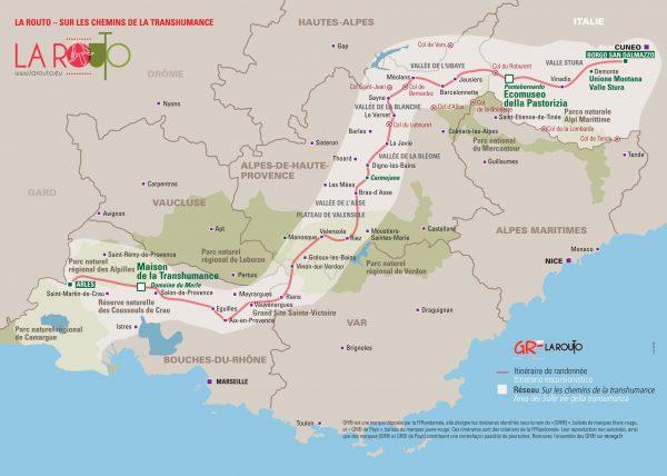 Carte montrant l'itinéraire de la Grande Randonnée La Routo