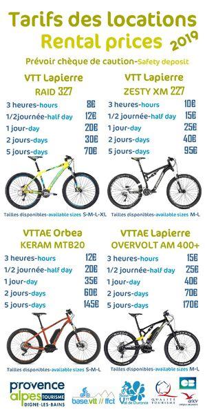 Tarifs des locations VTT/VTTAE