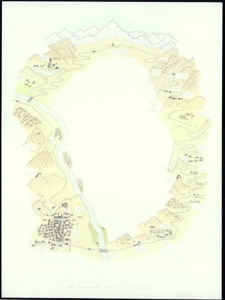 Jean-Jacques Rullier, La promenade dans les montagnes. Janv. 2014. 60 X 44,5 cm. Encre et crayons de couleurs sur papier, Scan. Fotimprim.